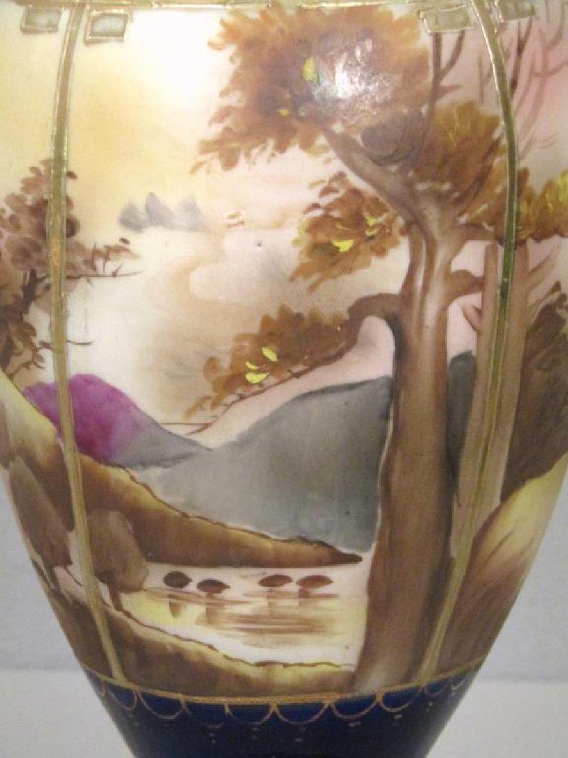 Pair Vienna Style Painted Urn Lamps - 5