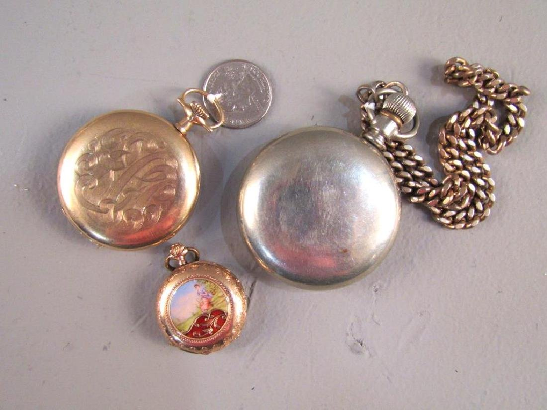 3 Open Face Pocket Watches - 7