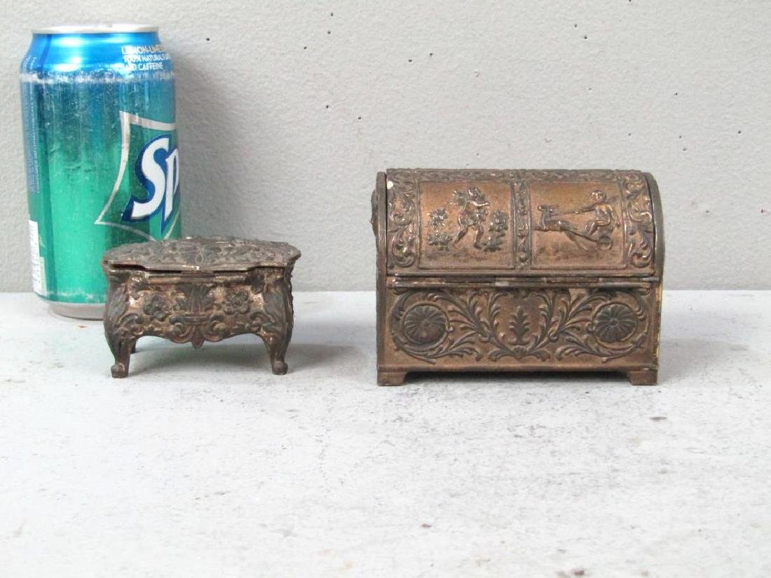 2 Repousse Metal Jewelry Boxes - 2