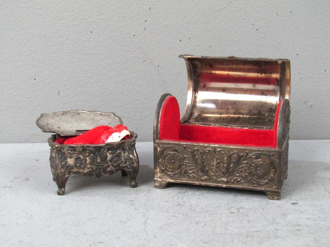 2 Repousse Metal Jewelry Boxes - 3
