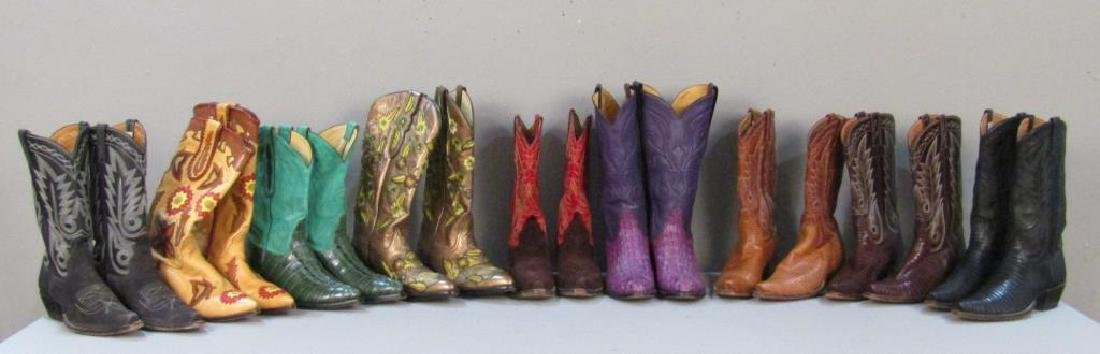 9 Pairs of Leather Cowboy Boots