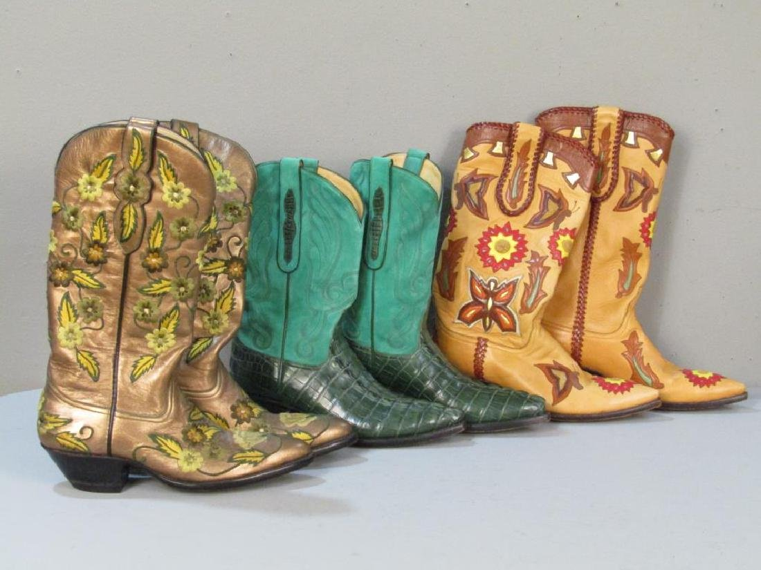 9 Pairs of Leather Cowboy Boots - 2