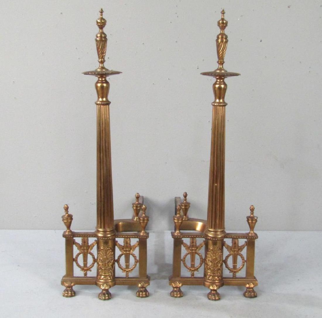Pair Regency Style Gilt Metal Andirons