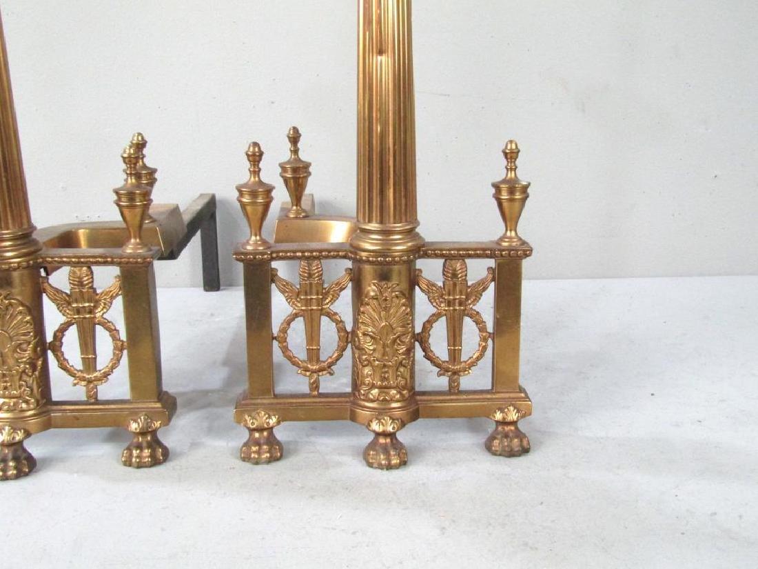 Pair Regency Style Gilt Metal Andirons - 4