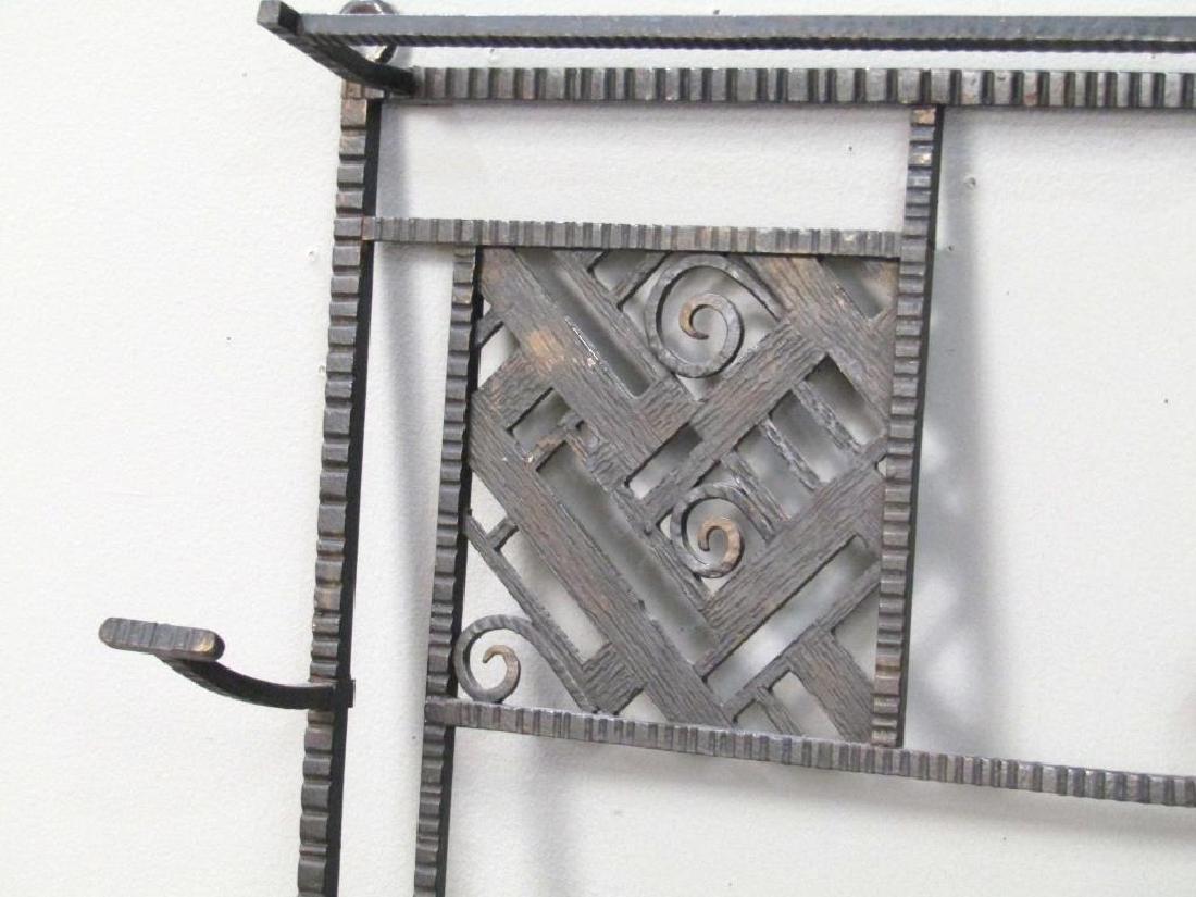 Edgar Brandt Style Iron Hanging Hall Rack - 2