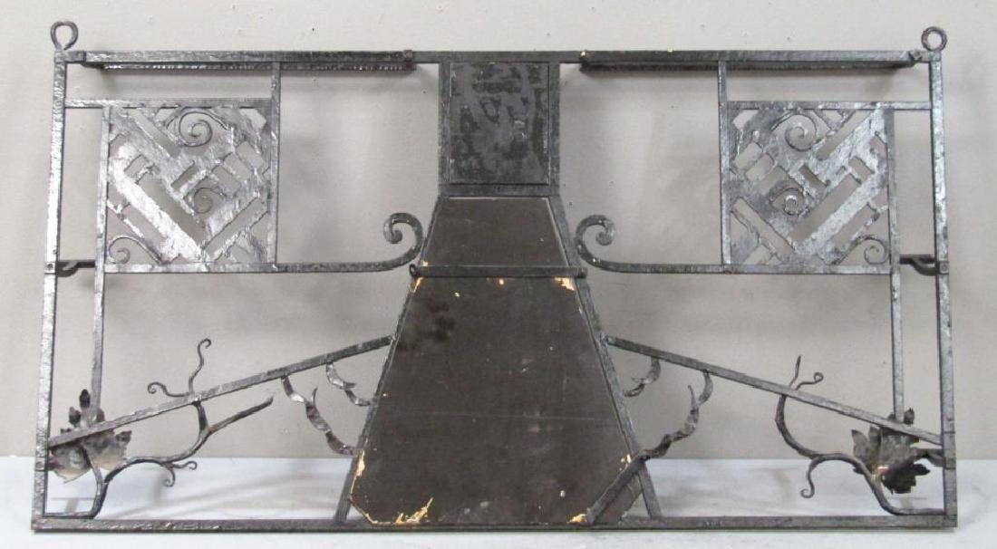 Edgar Brandt Style Iron Hanging Hall Rack - 4