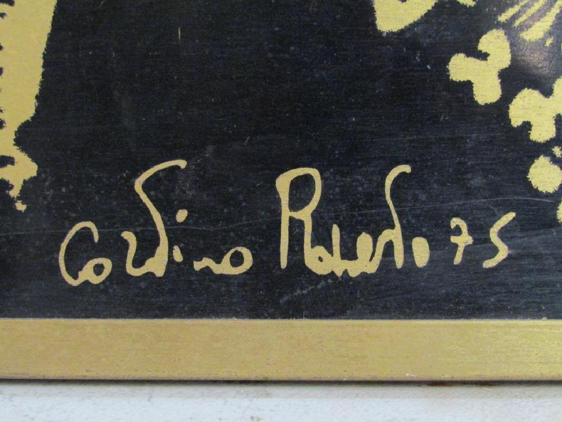 Signed Illegibly - Screenprint on Brass Panel - 6