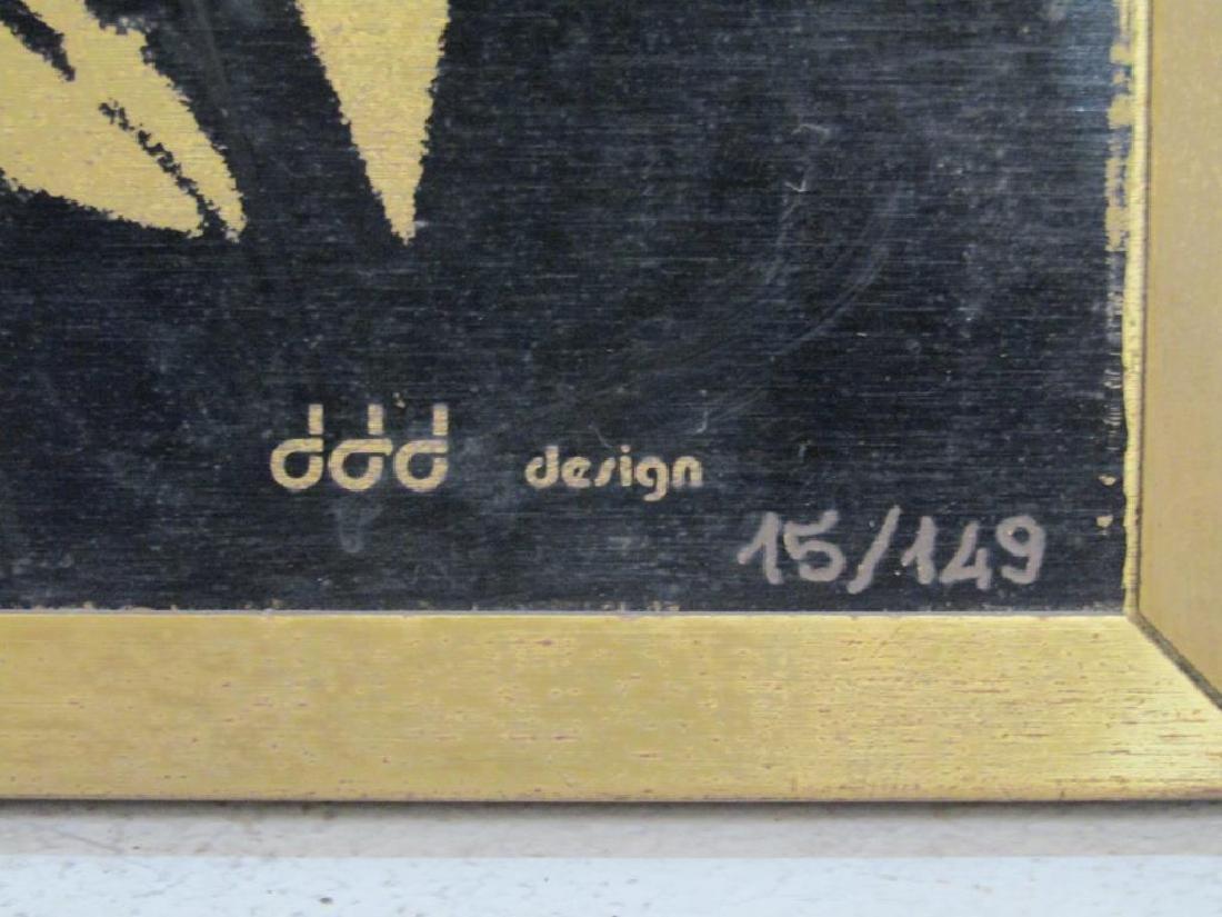 Signed Illegibly - Screenprint on Brass Panel - 7