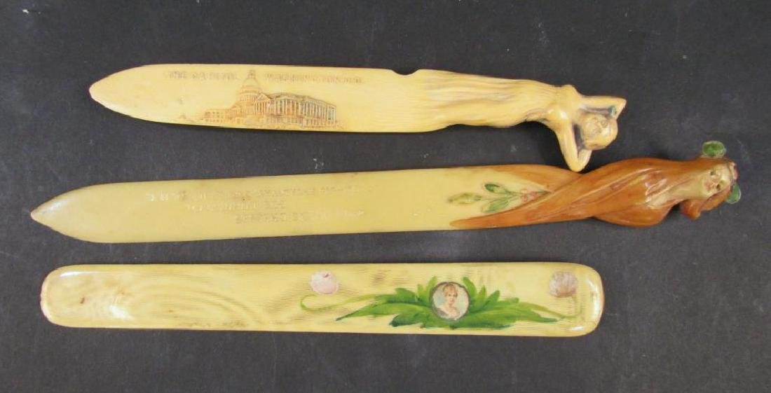 3 Celluloid Beer Skimmers / Letter Openers