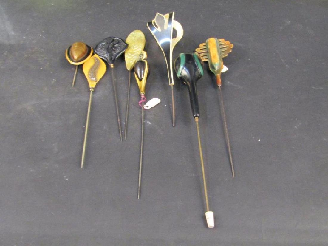 8 Celluloid Hat Pins - 2