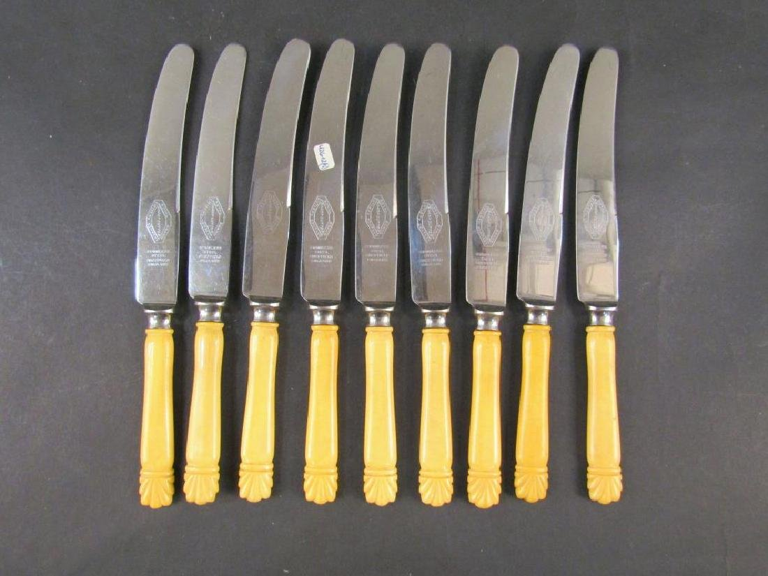 Set of 9 Celluloid Handle English Knives