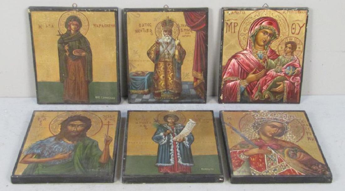 6 Greek Painted Wood Icons