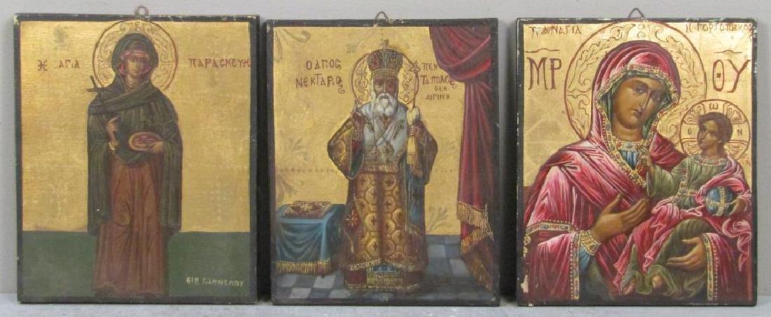 6 Greek Painted Wood Icons - 2