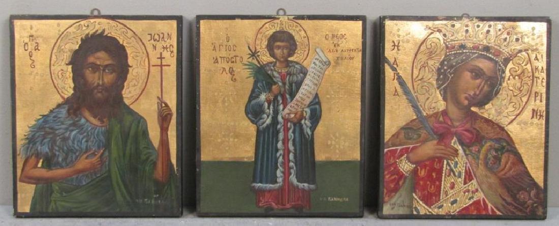 6 Greek Painted Wood Icons - 4