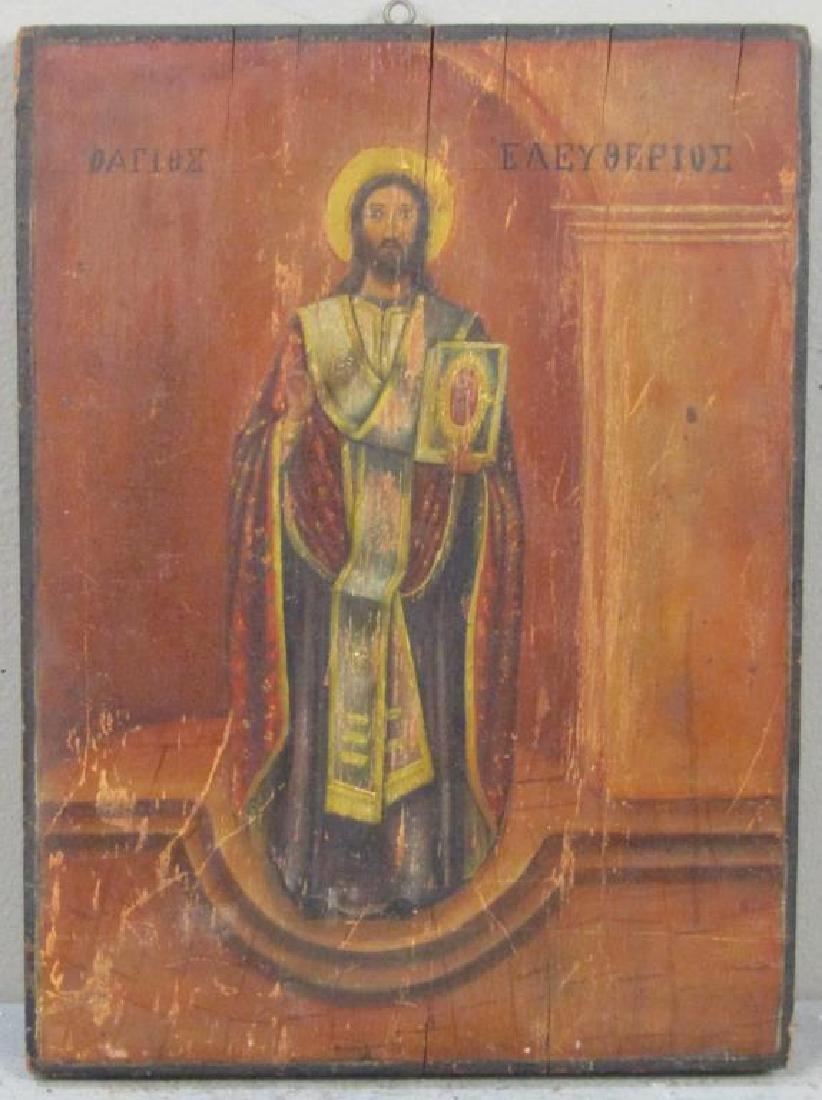 Greek Painted Wood Icon