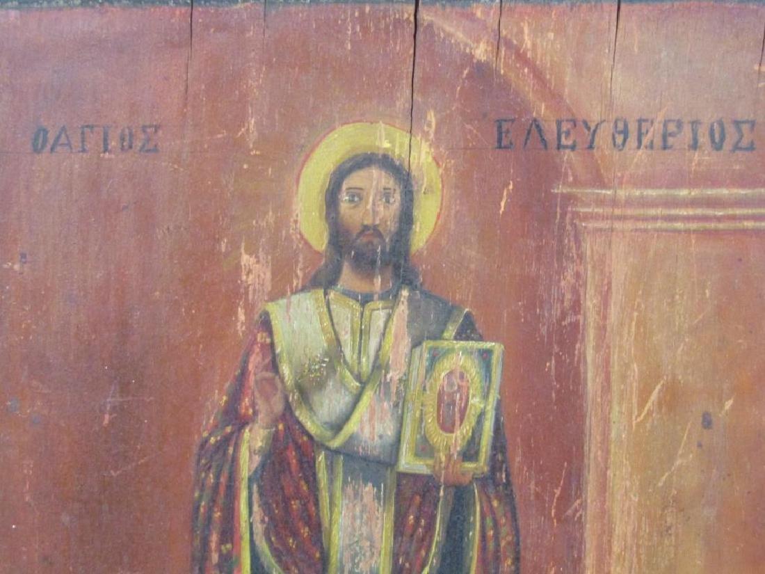 Greek Painted Wood Icon - 2