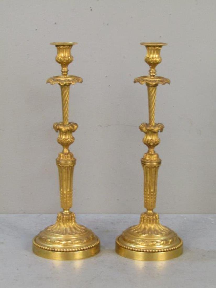 Pair French Gilt Bronze Candlesticks