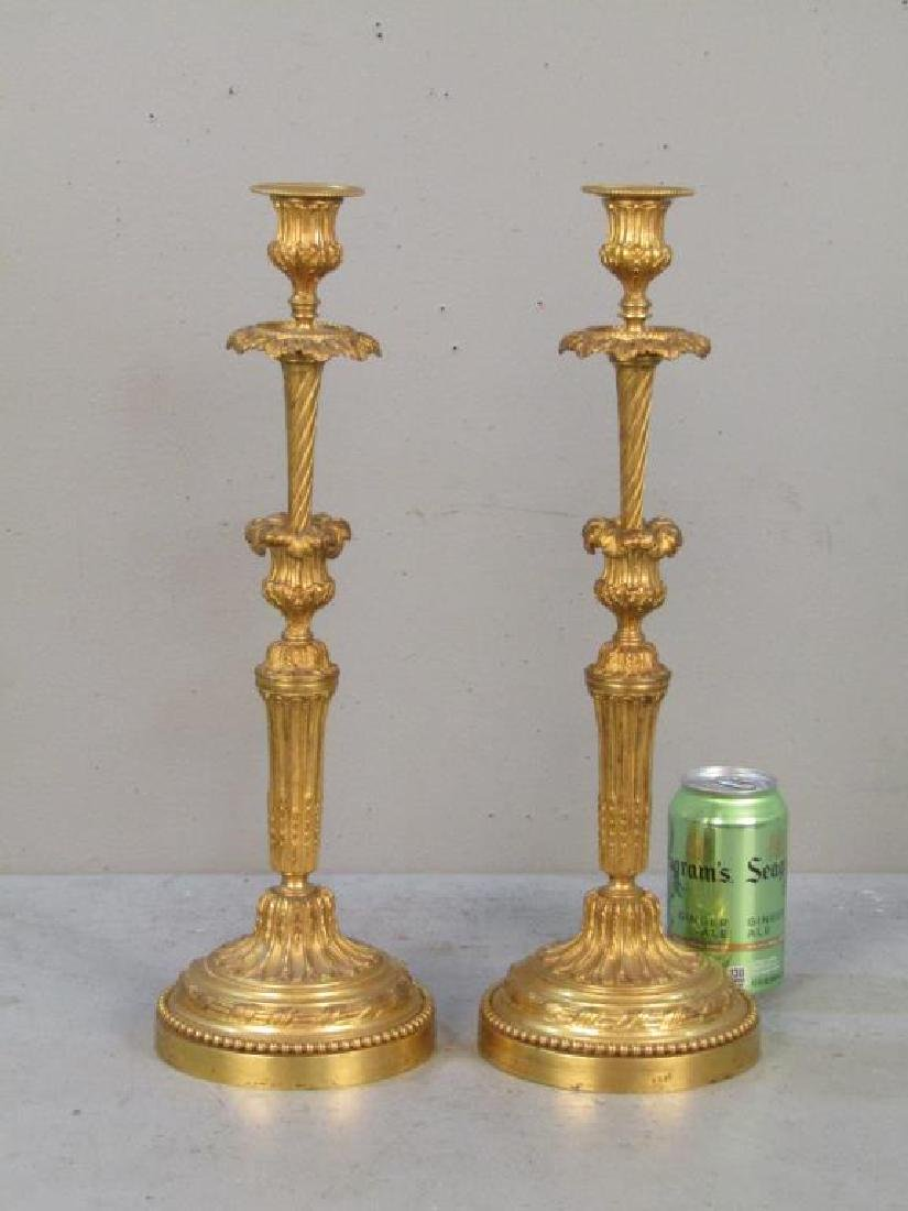 Pair French Gilt Bronze Candlesticks - 2