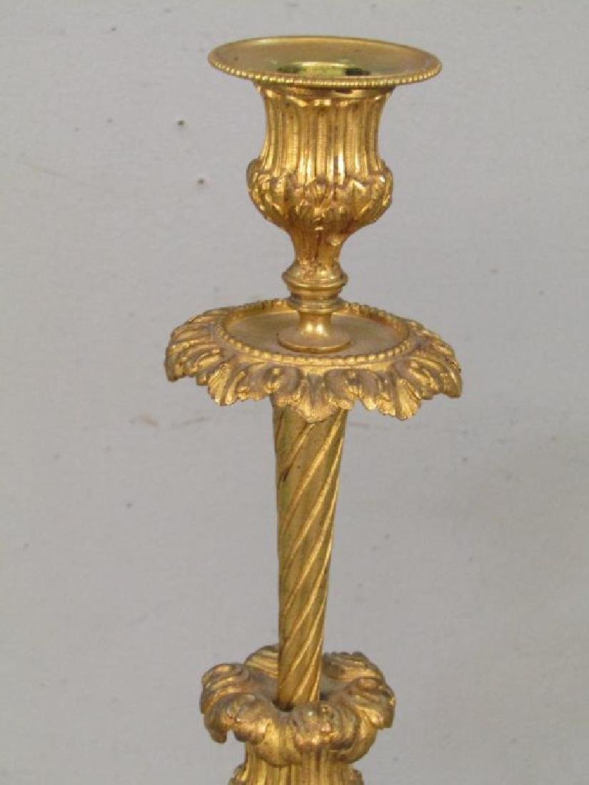 Pair French Gilt Bronze Candlesticks - 3