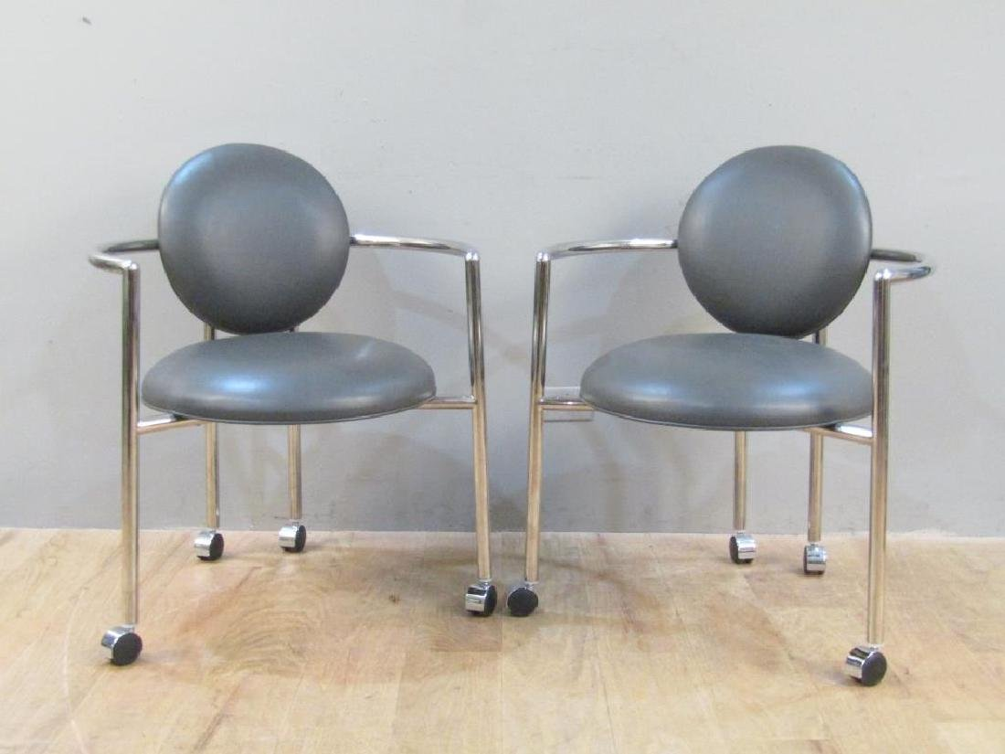 Pair Brueton Leather and Chrome Rolling Arm Chairs
