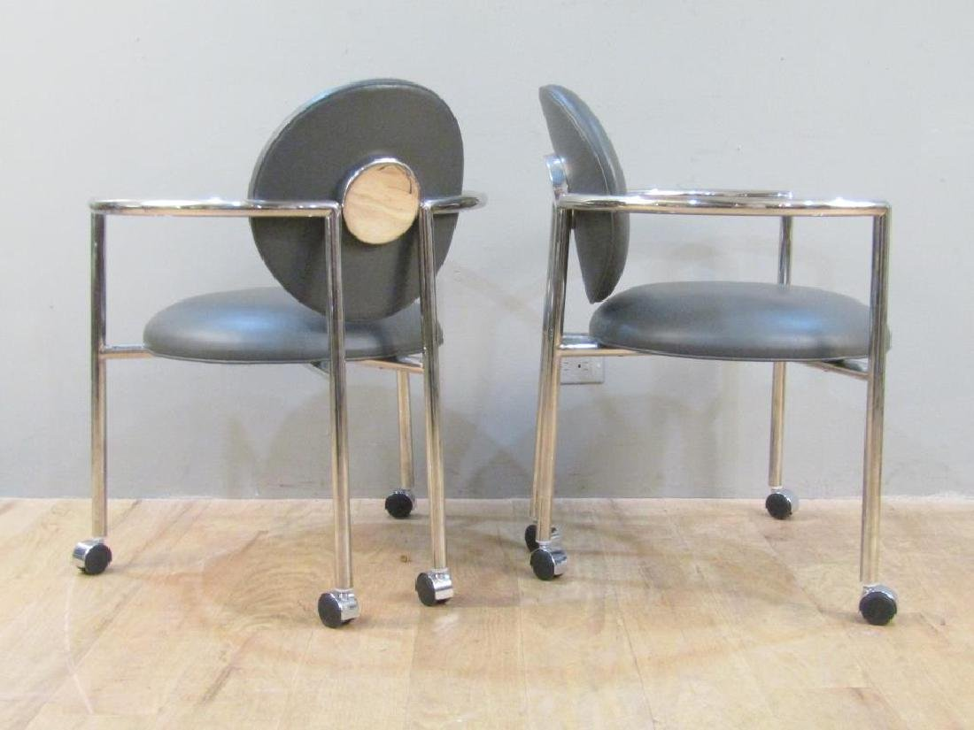 Pair Brueton Leather and Chrome Rolling Arm Chairs - 2