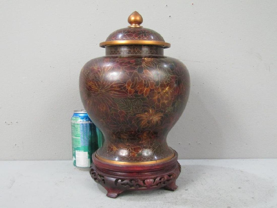 Cloisonne Covered Jar on Stand - 3
