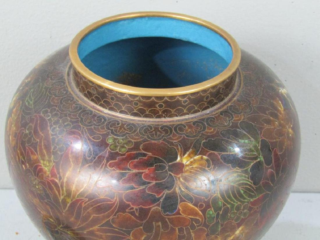 Cloisonne Covered Jar on Stand - 4