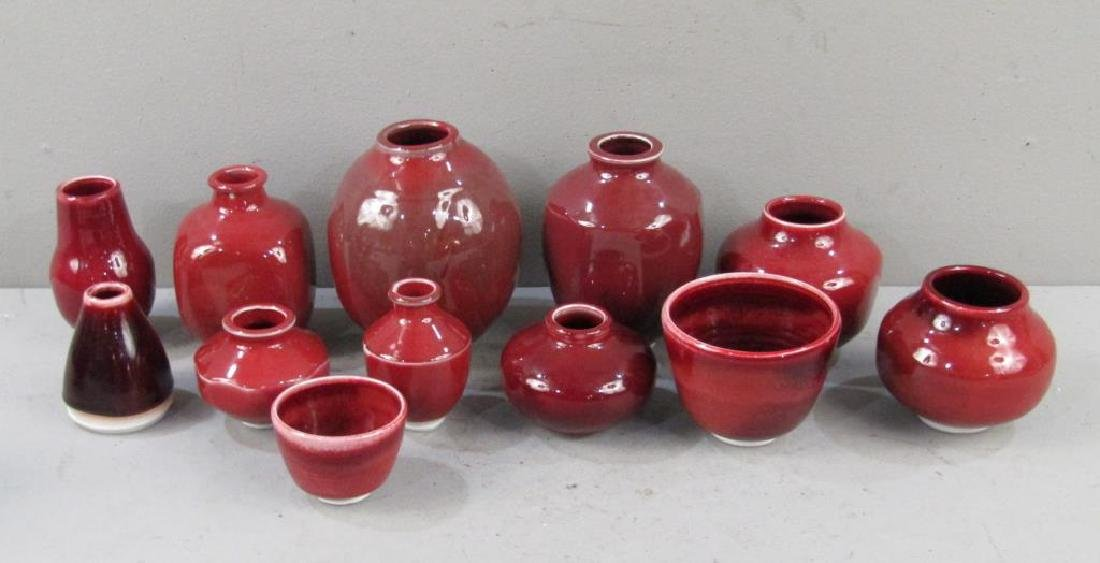 12 Chinese Style Red Porcelain Vases
