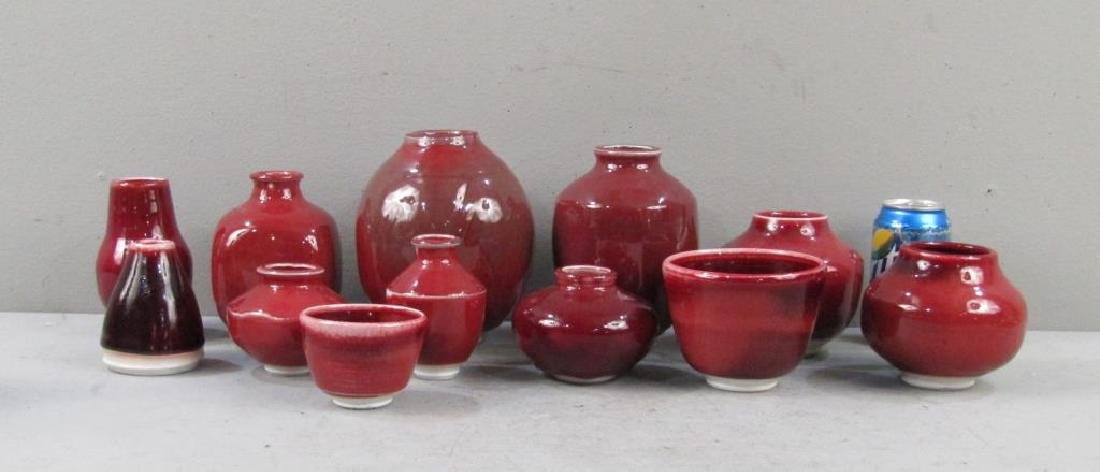12 Chinese Style Red Porcelain Vases - 2
