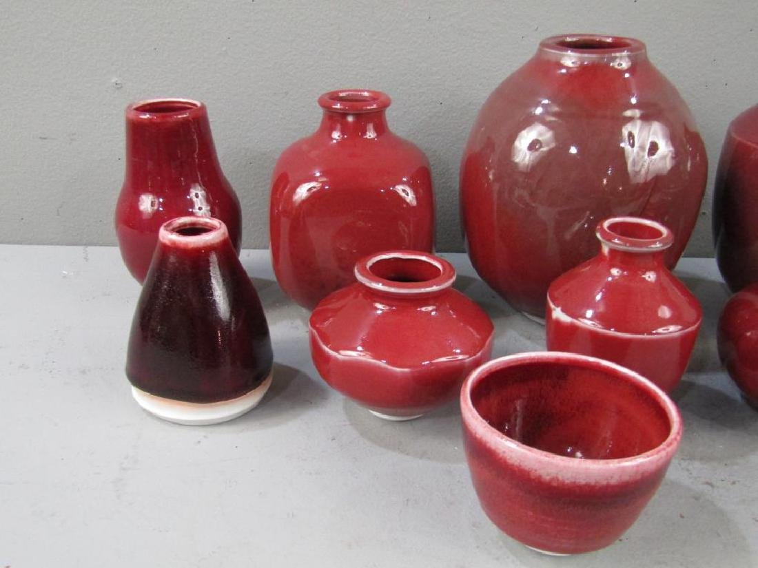 12 Chinese Style Red Porcelain Vases - 3