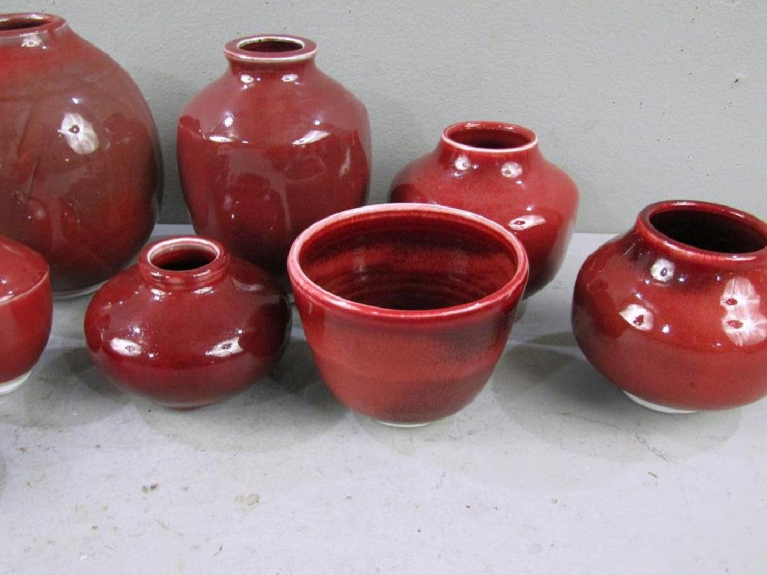 12 Chinese Style Red Porcelain Vases - 4