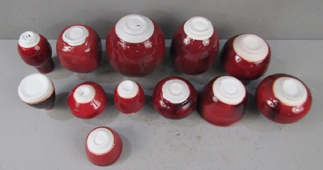 12 Chinese Style Red Porcelain Vases - 5