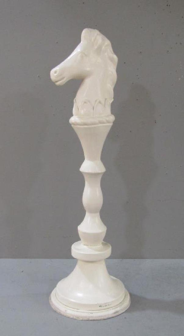 Painted Carved Horse Head Post - 2