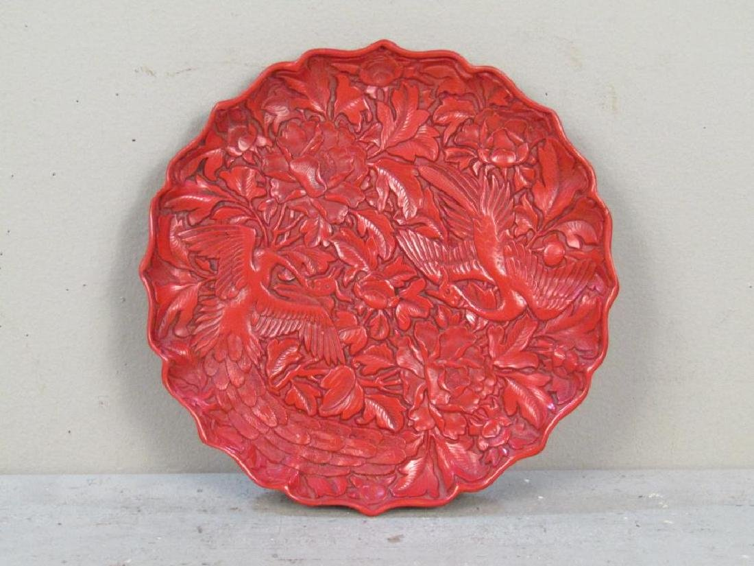 Faux Cinnabar Plate and 2 Figures