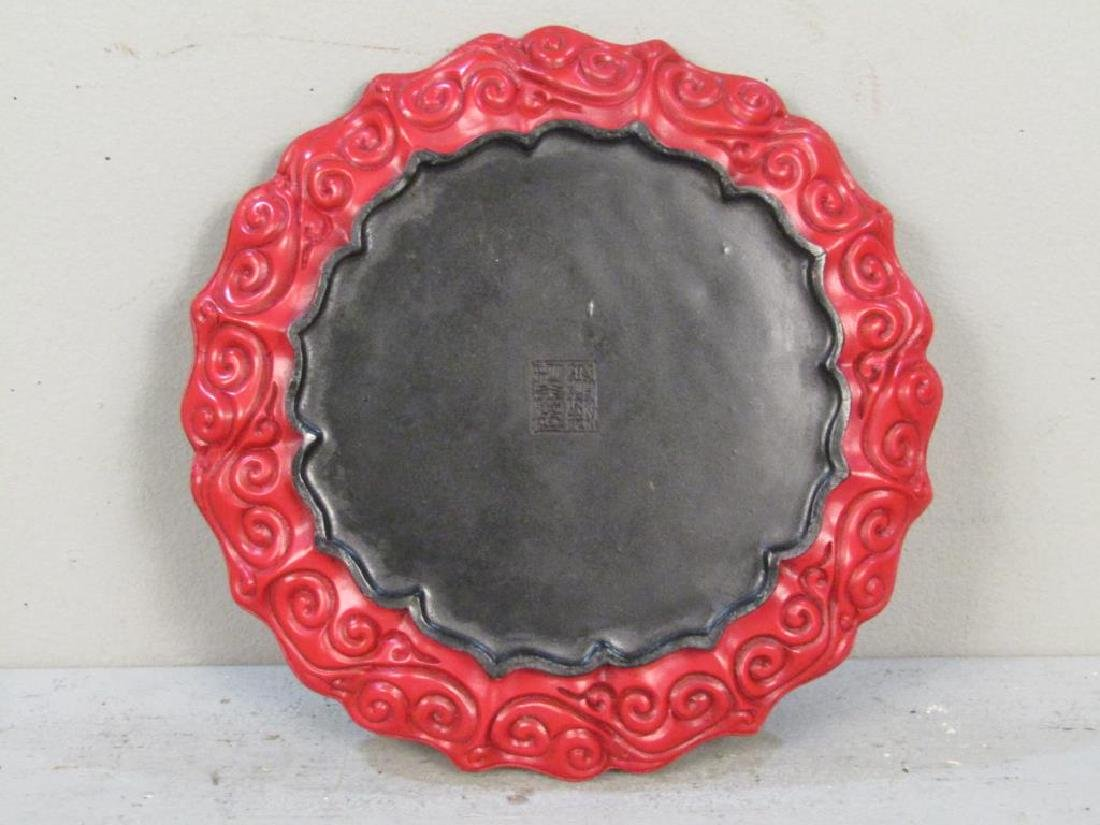 Faux Cinnabar Plate and 2 Figures - 4