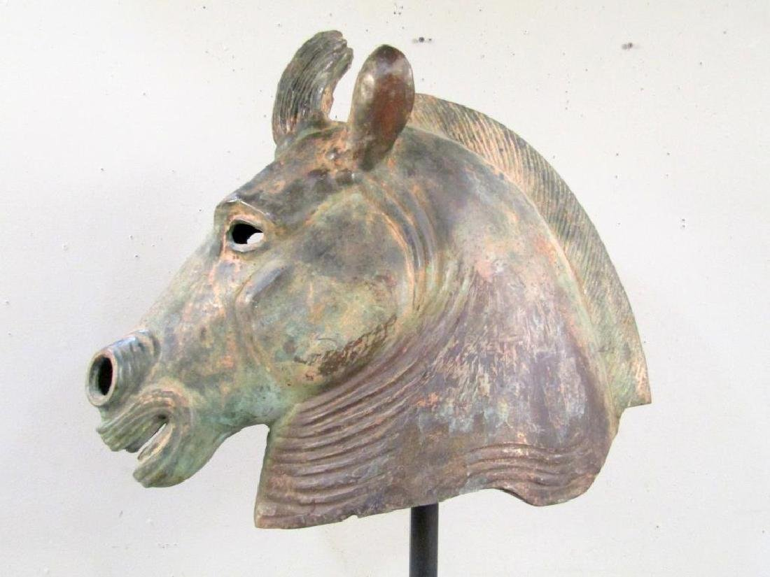 Large Bronze Archaic Style Horse Head - 5