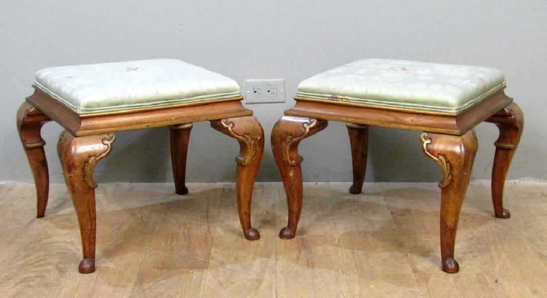 Pair Georgian Style Upholstered Stools