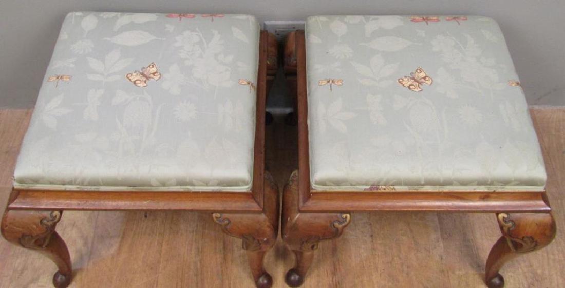 Pair Georgian Style Upholstered Stools - 2
