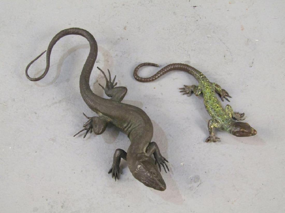 2 Small Bronze Lizard Sculptures