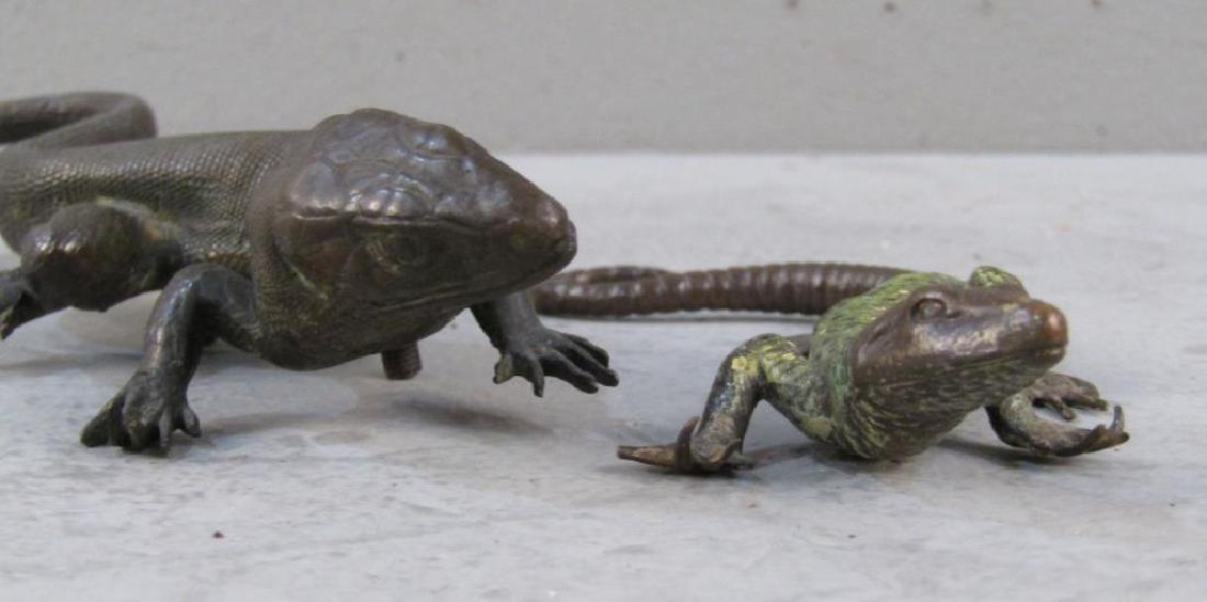 2 Small Bronze Lizard Sculptures - 2