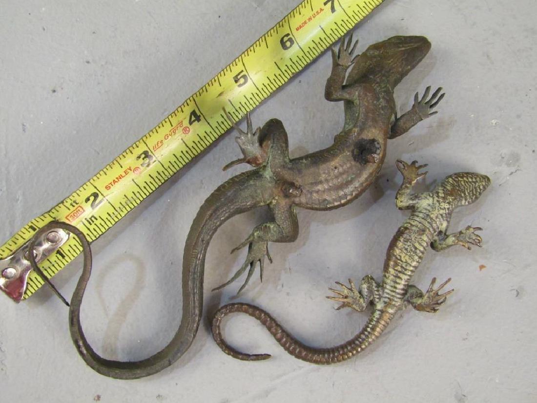 2 Small Bronze Lizard Sculptures - 3
