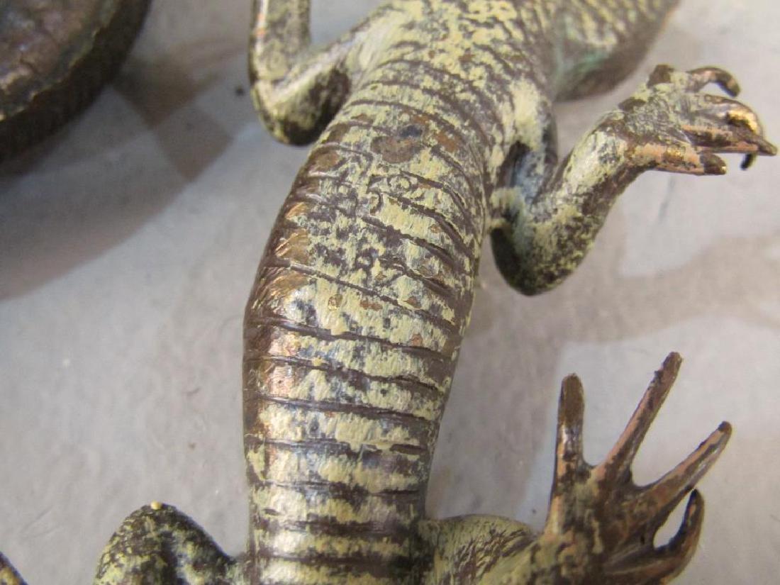 2 Small Bronze Lizard Sculptures - 4
