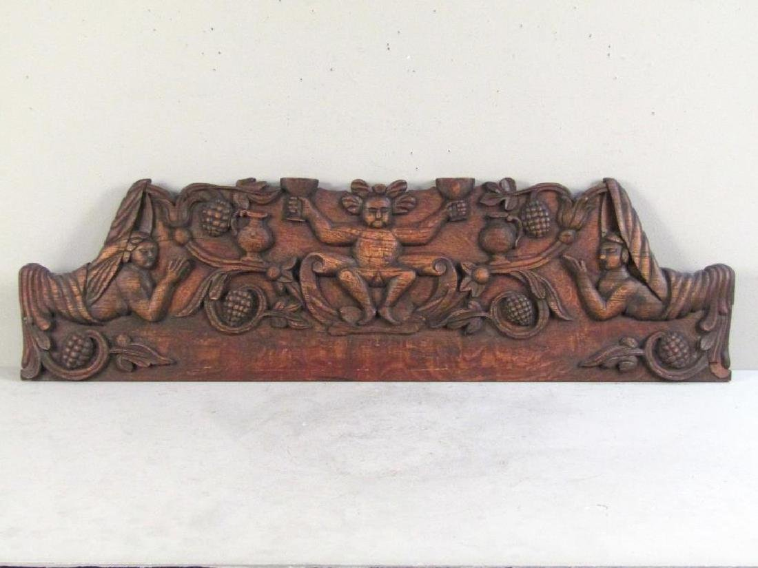Continental Carved Wood Plaque