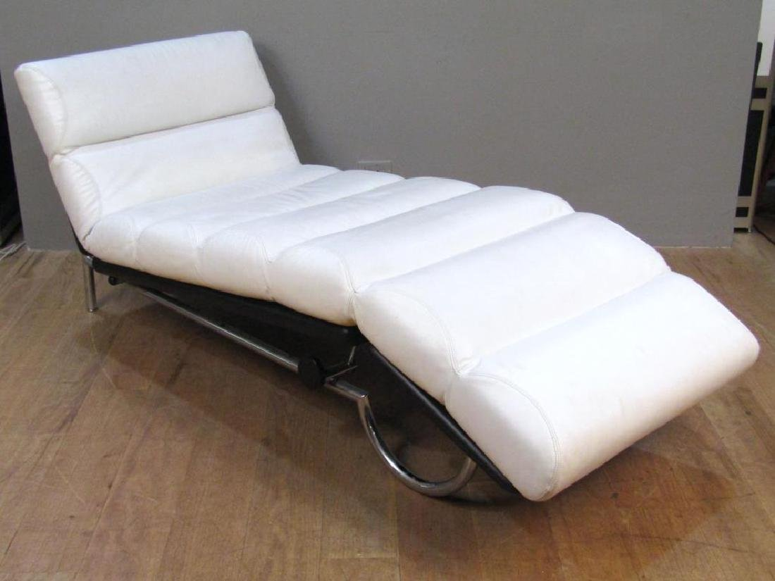 Modern Chrome and Leather Lounge Chair - 2