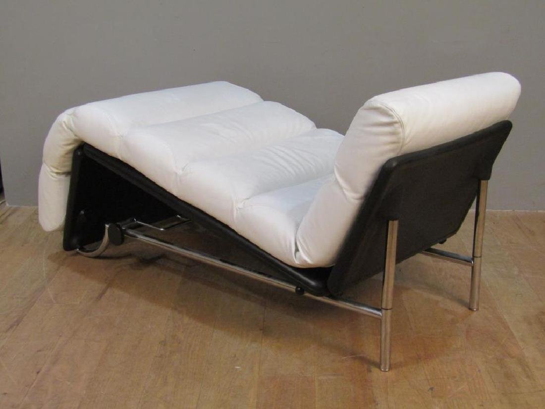 Modern Chrome and Leather Lounge Chair - 3
