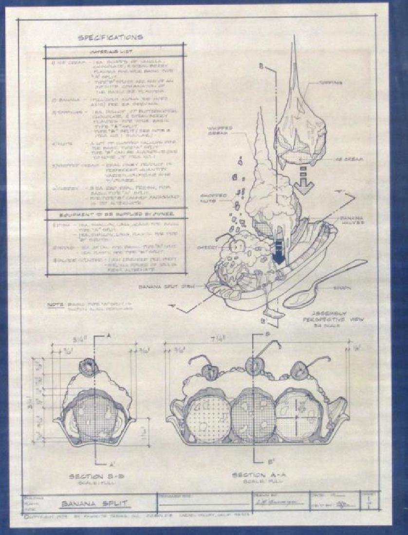 decorative blueprint of a banana split Aggregate Fruit Diagram