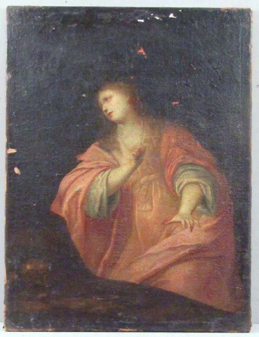 Antique Oil on Canvas of Mary Magdalene ***