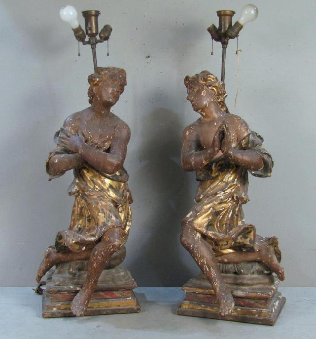 Pair Antique Figural Carved Lamps