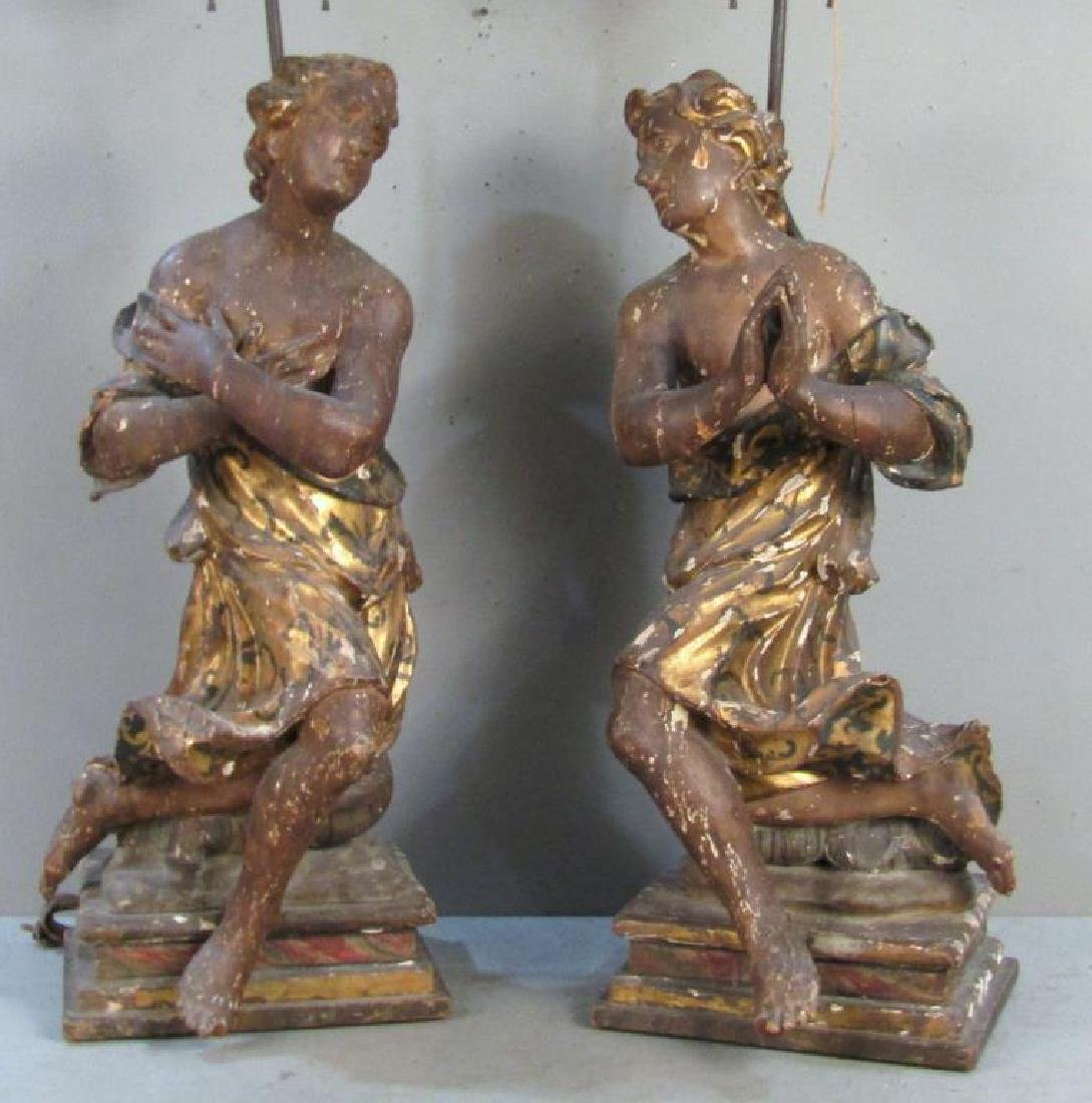 Pair Antique Figural Carved Lamps - 2