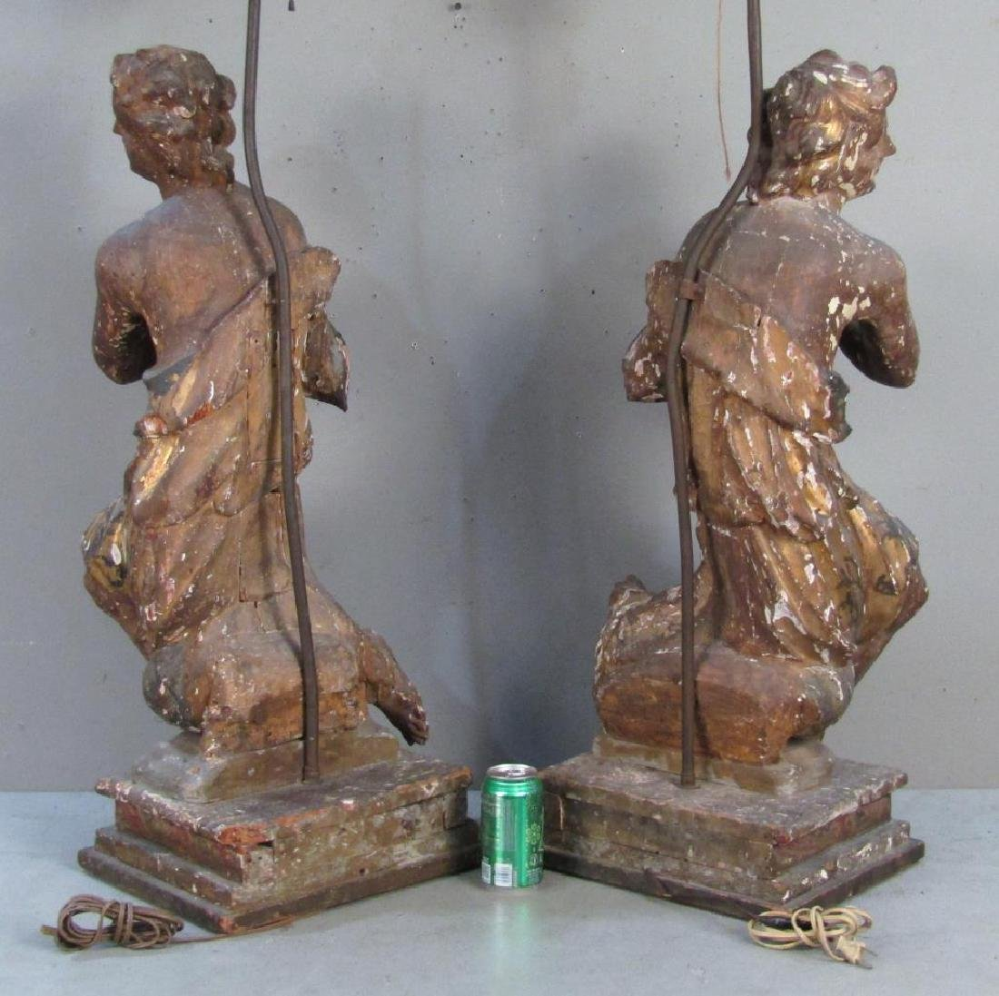Pair Antique Figural Carved Lamps - 4